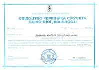 Свидетельство руководителя субъекта оценочной деятельности